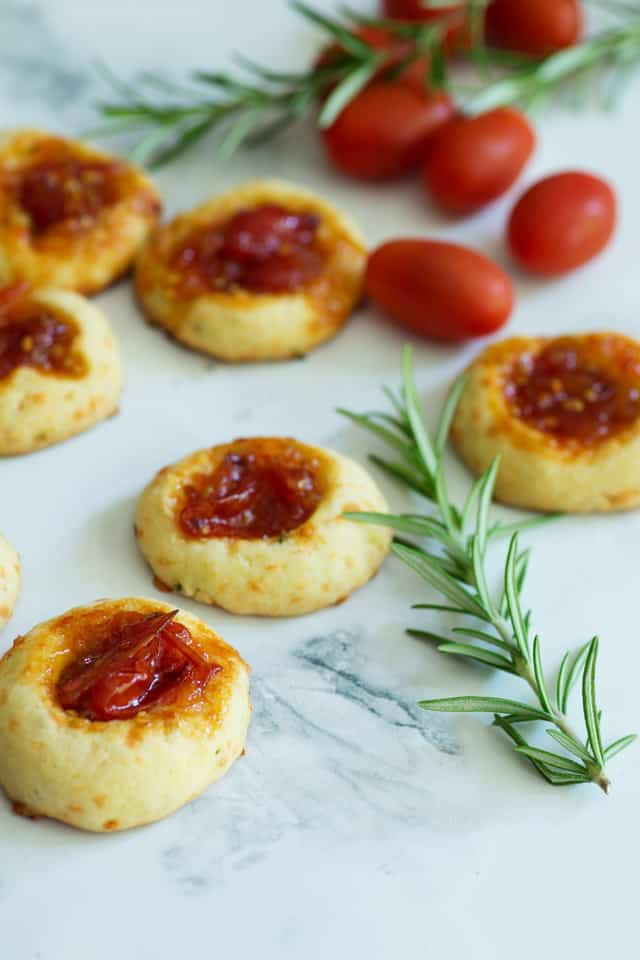 Savory Thumbprint Cookies close-up