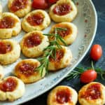 Savory Thumbprint Cookies on a platter