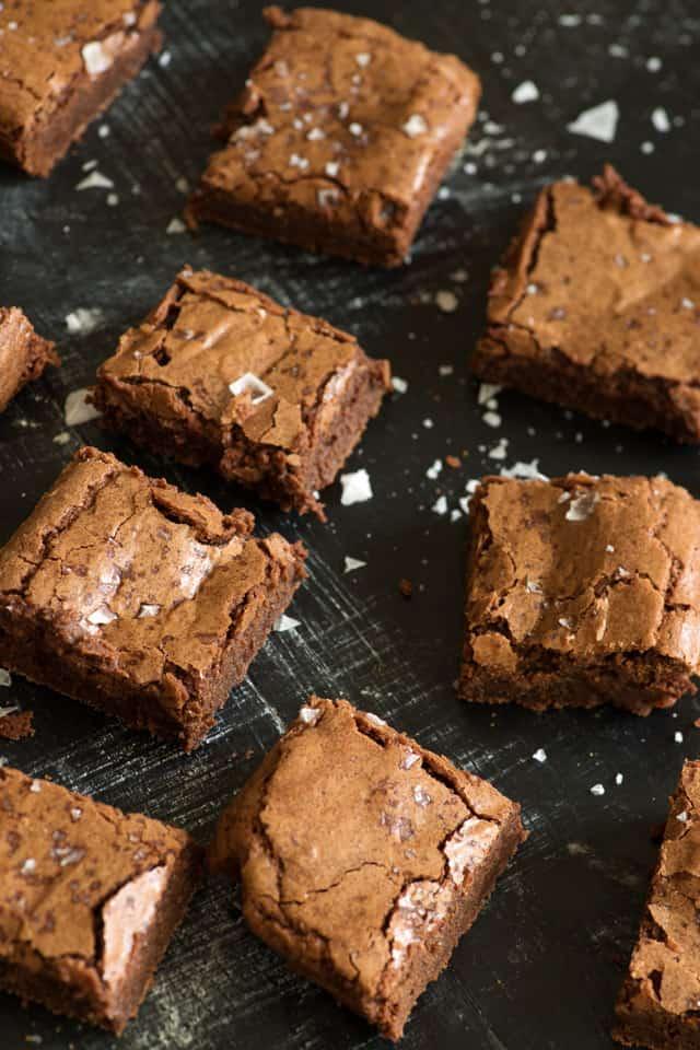 Fudgy brownies on platter
