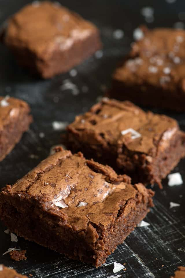 Fudgy brownies on platter