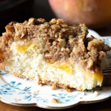 A slice of Peach Streusel Coffee Cake