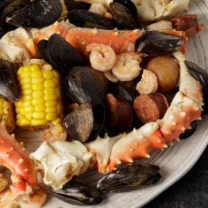 A platter of old bay seafood boil
