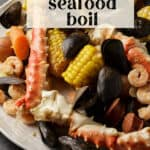 A serving platter full of an old bay seafood boil