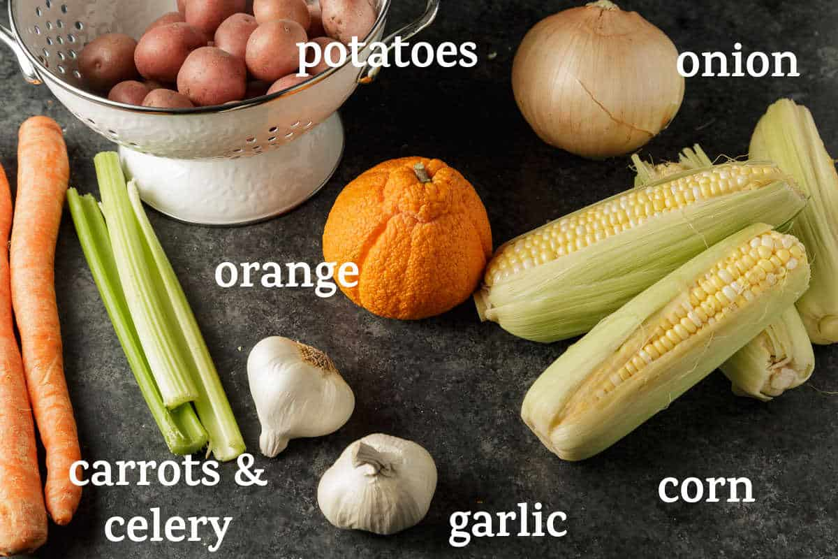 Vegetables for a seafood boil