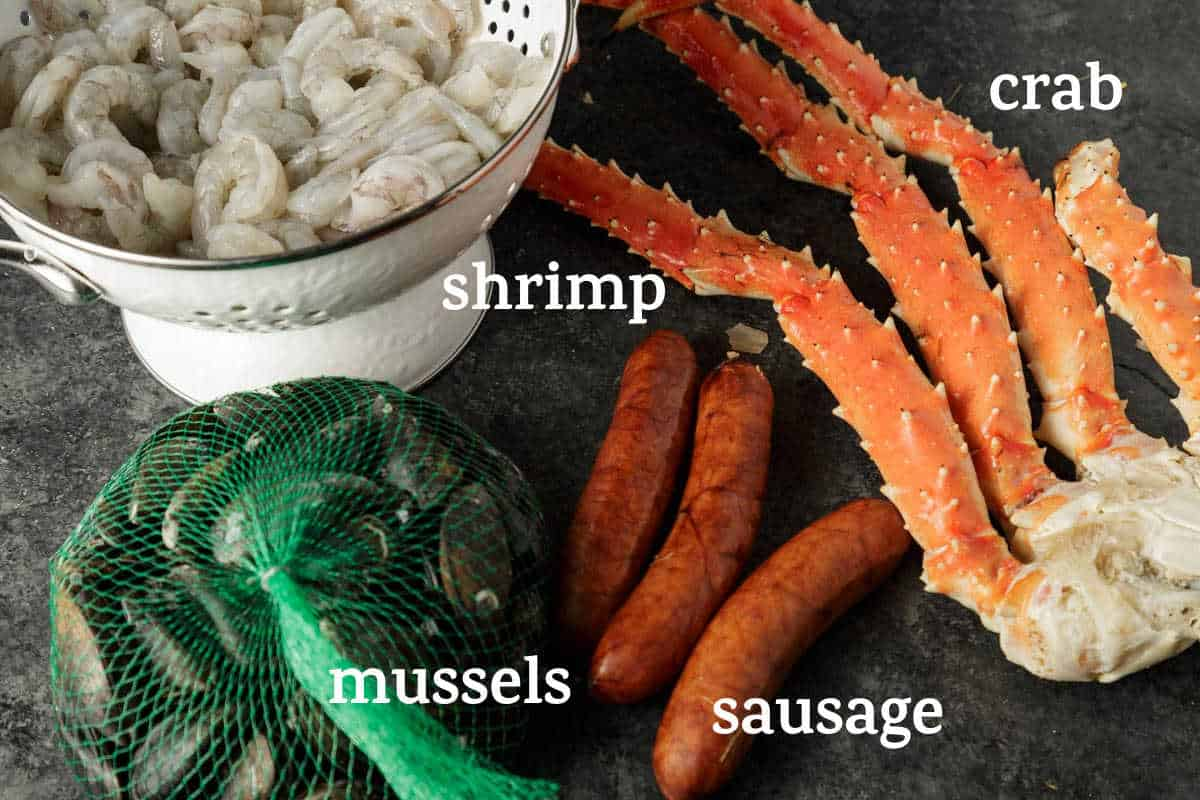 seafood and sausage for a seafood boil