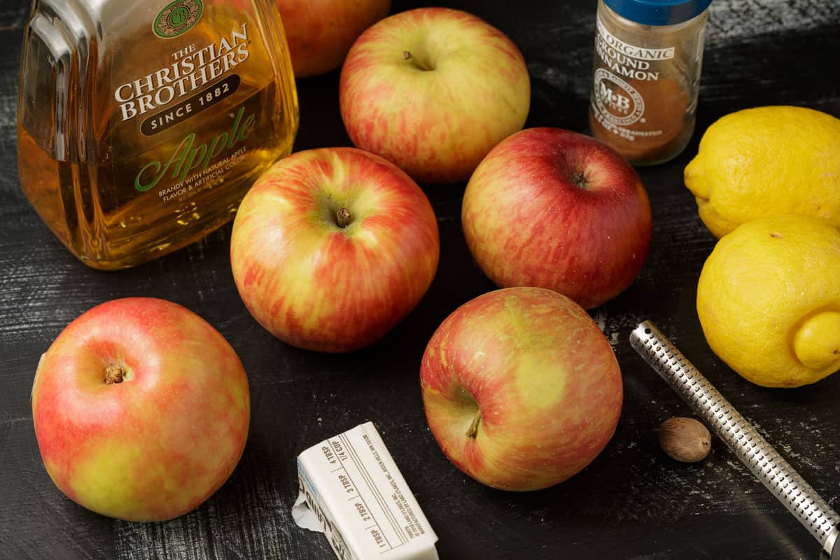 Ingredients for the filling of apple pie bars.