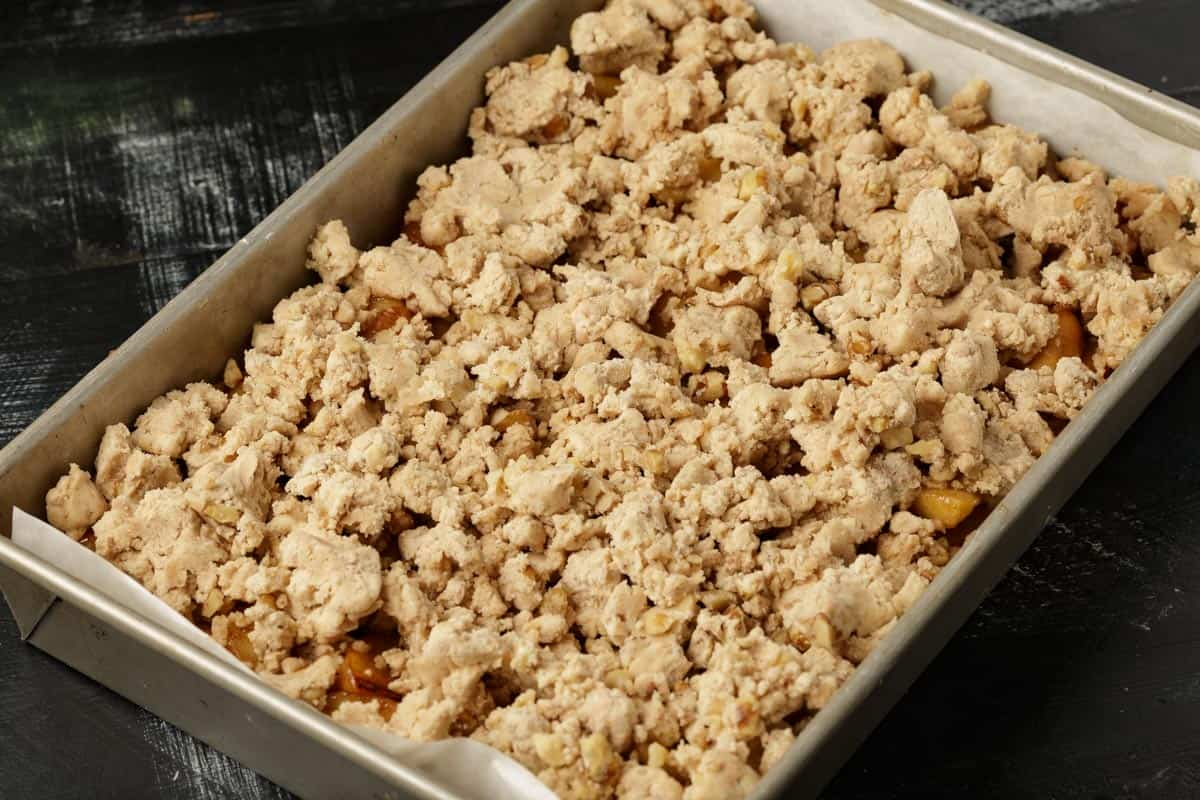 A pan of apple bars before baking.