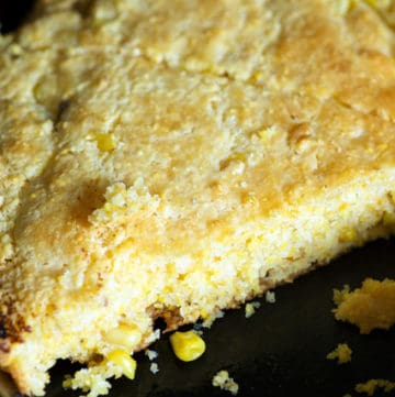 Brown Butter Cornbread in a skillet
