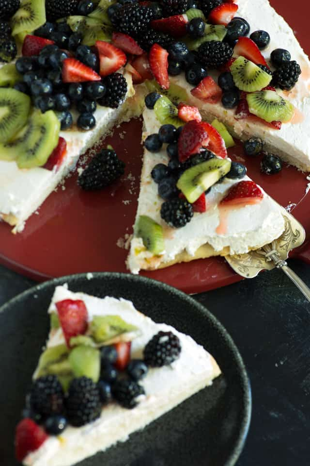 two slices of fruit pizza