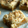 You don't have to wait for apricot season to enjoy sweet apricots. Apricot Bars with dried apricots are covered in a mouthwatering buttery shortbread crust of coconut and pecans. |butterandbaggage.com