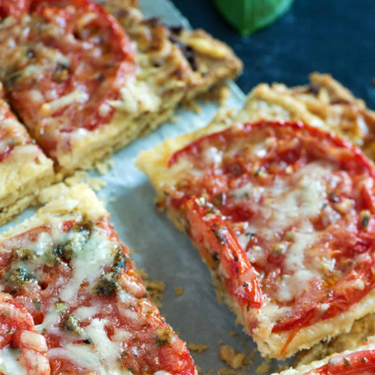 Slices of heirloom tomato tart