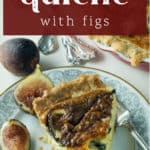A plate with a slice of Quiche with Figs on it.