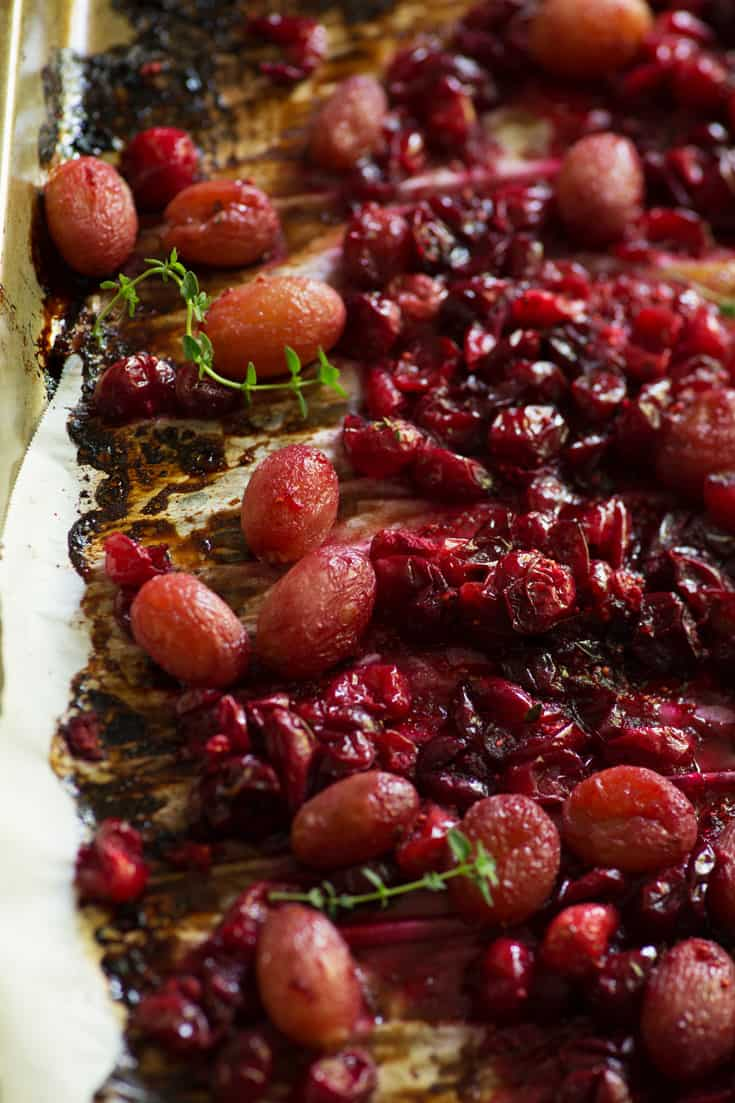 Roasted cranberry grape relish in dish