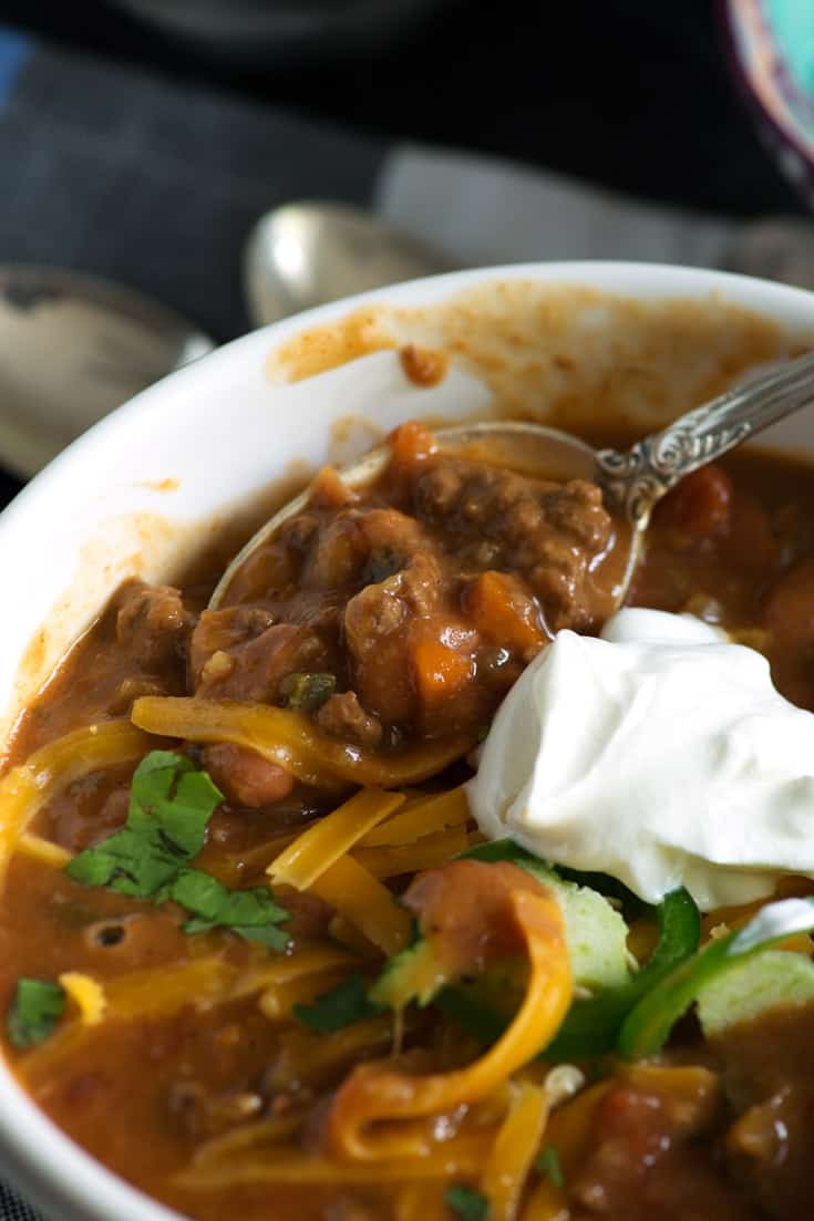 Instant Pot Chili close-up