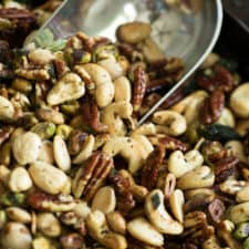 A scoop of roasted nuts