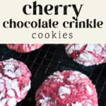 Cherry Chocolate Crinkle Cookies on the counter