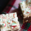 Peppermint Brownies with crushed candy canes have peppermint both inside and out for a perfect combination Don't forget to throw in some white chocolate chips for a great Holiday treat.|butterandbaggage.com