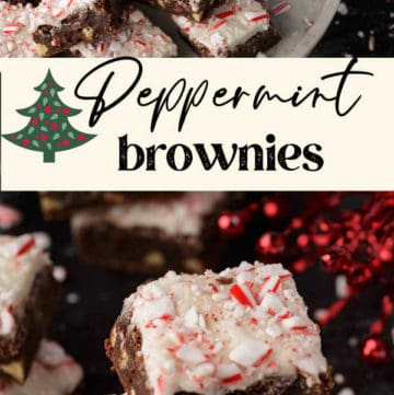 A stack of peppermint brownies in front of a platter of brownies