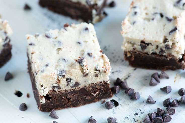 Cookie dough brownies are like getting two desserts in one. A rich fudgy brownie with a cookie dough frosting, perfect when you can't decide between a cookie or a brownie. |butterandbaggage.com