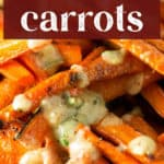 Roasted Carrots with Vinaigrette close up.