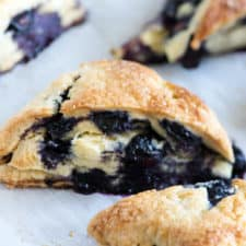 Blueberry scones on a baking sheet