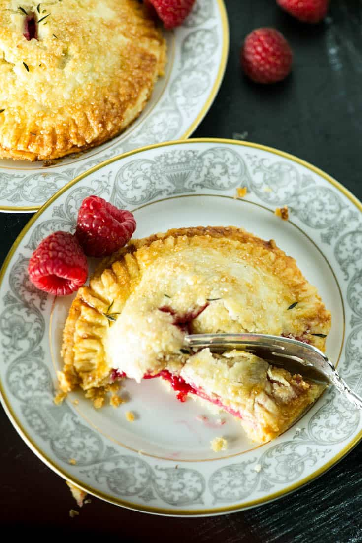 A plate with a Raspberry Hand Pie