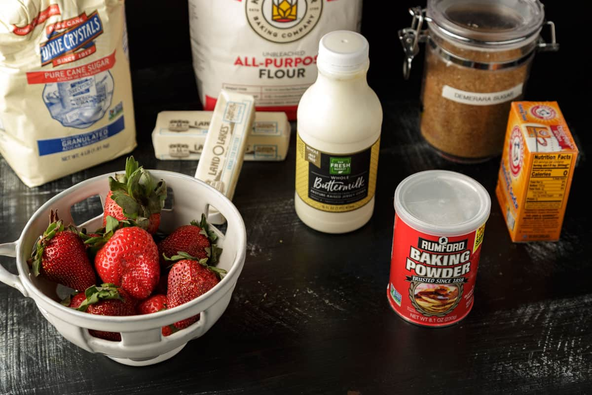 ingredients for buttermilk biscuits with strawberries