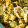 Baked pasta with cauliflower in a casserole dish