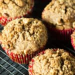 Sweet Potato Streusel Muffins on a wire rack