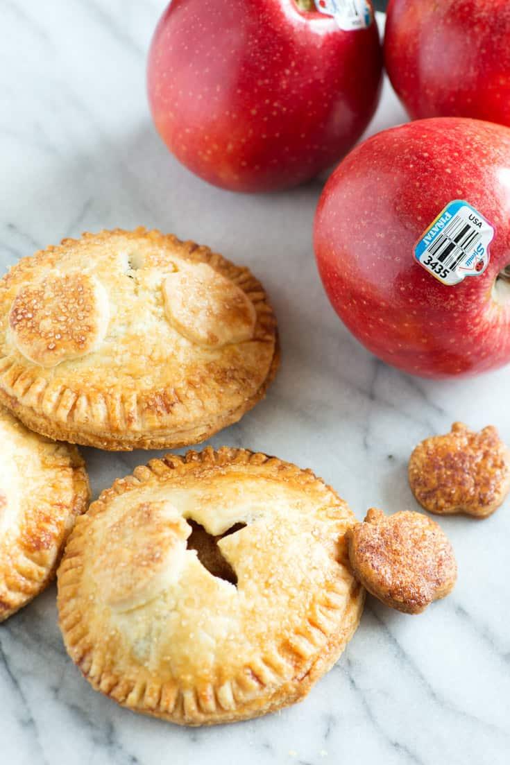 Apple Hand pies on a marble slab