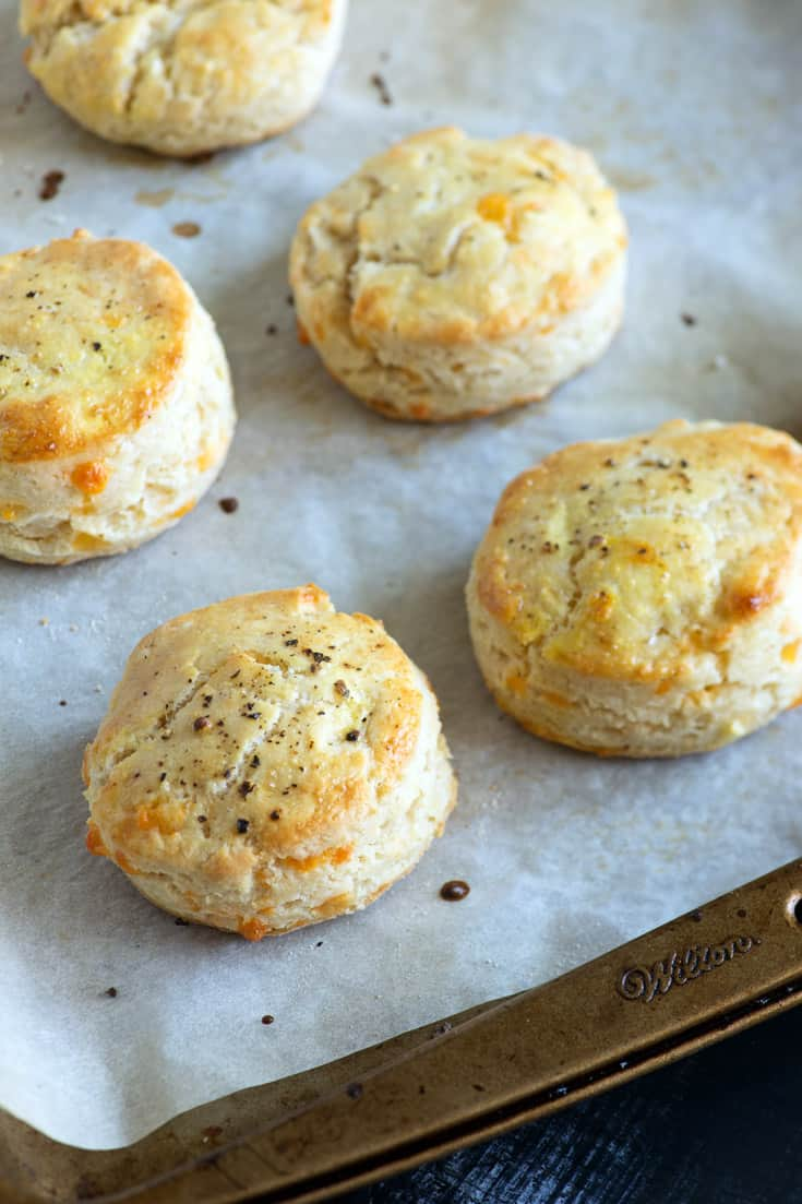 A pan of gluten free biscuits