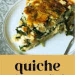 A slice of Quiche with Caramelized Onions on a plate.