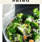 Broccoli Salad in a bowl with dressing on the side.