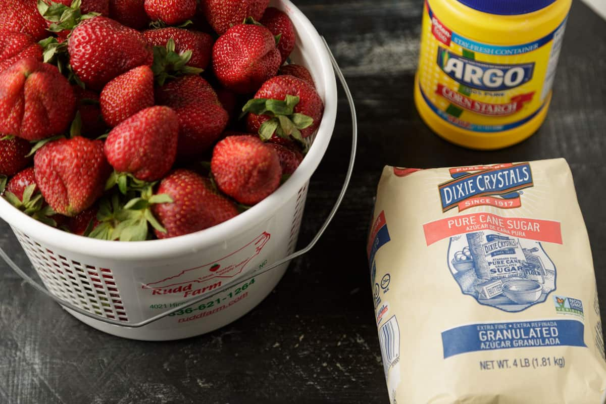 Ingredients for strawberry cobbler