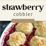 Strawberry Cobbler in a dish fresh out of the oven.