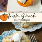 Half of.a peach on a piece of dough and a peach dumpling on a plate