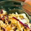 A spoonful of Peach Coleslaw