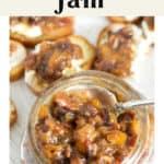 Bacon Peach Jam in a jar.