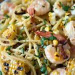 A platter of Carbonara with Shrimp and Corn