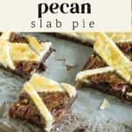 Chocolate Pecan Slab Pie on a pan.