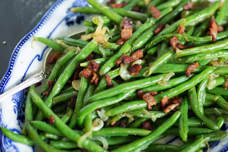 A platter of Green Beans with Bacon and Onions