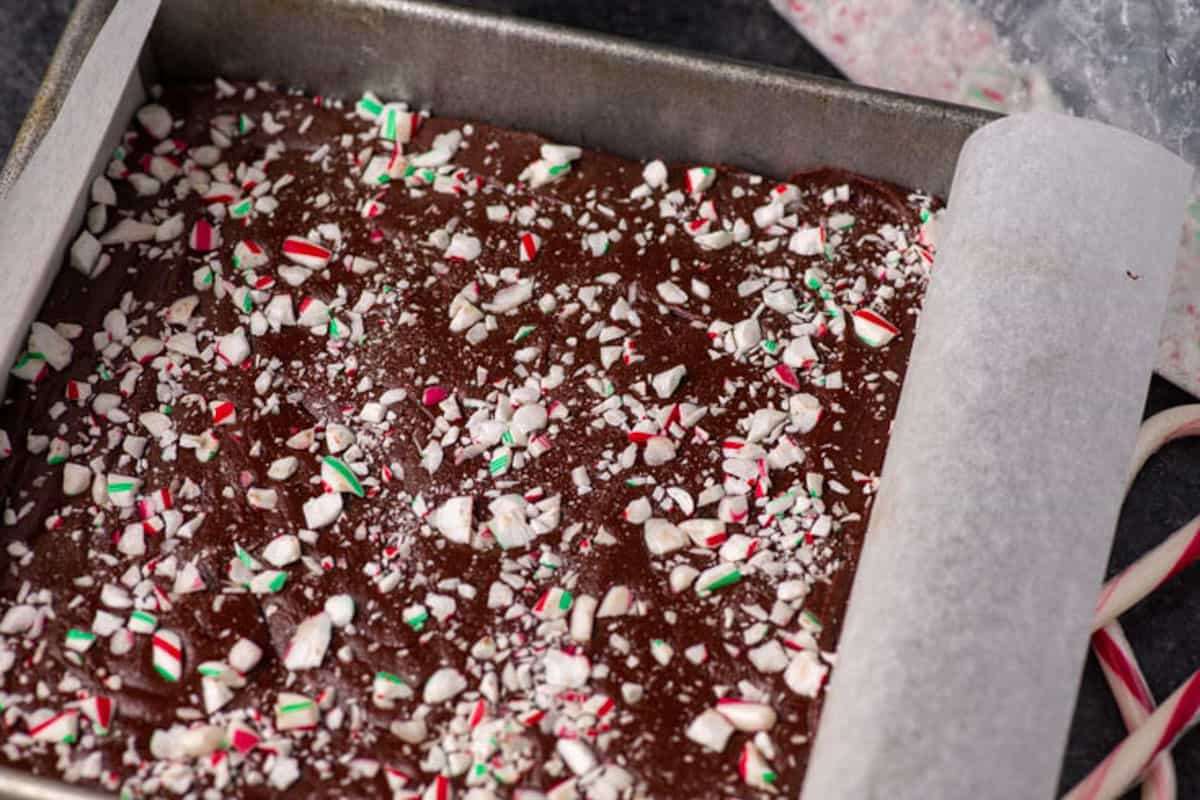 A stack of Peppermint Fudge