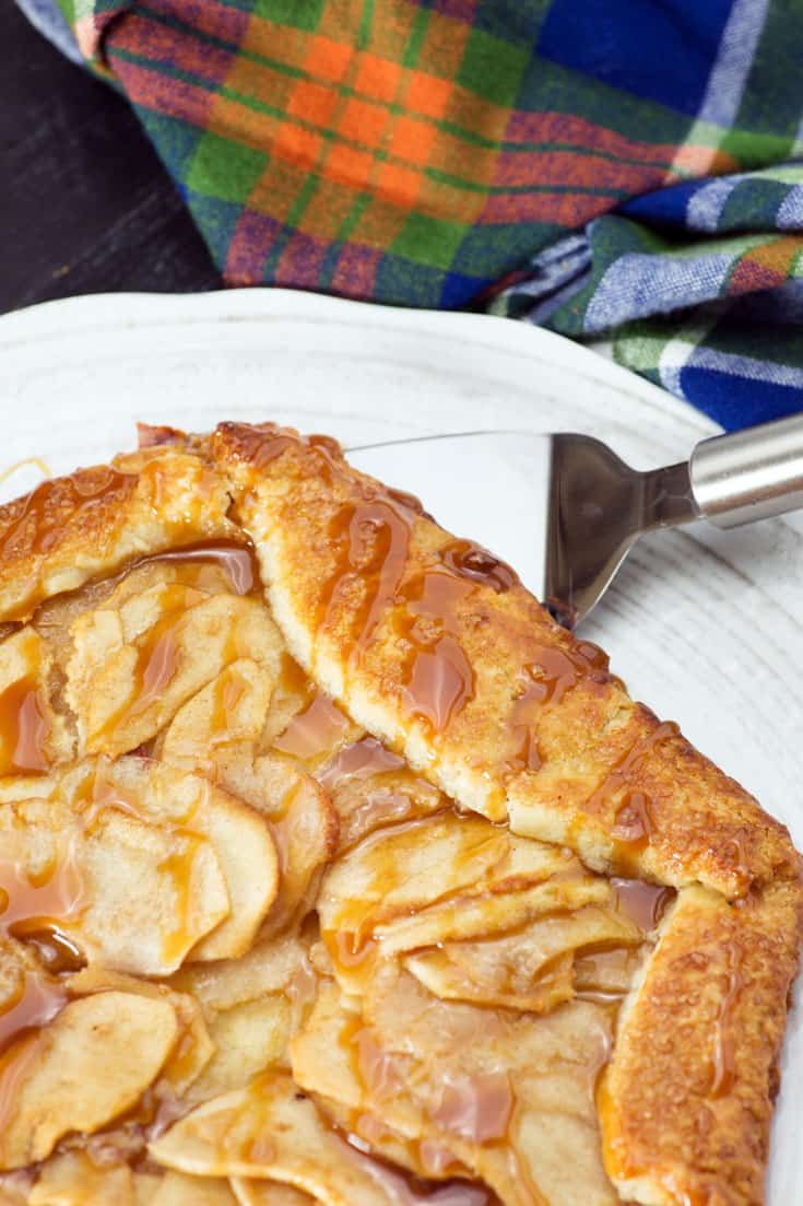 An Apple Pear Galette on a serving platter