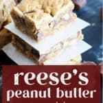 Reese's Peanut Butter Oatmeal Bars stacked on top of eachother.