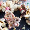 White Chocolate Chex Mix on parchment paper