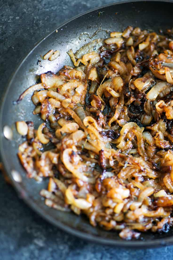 Caramelized onions for French Onion Pastry Bites