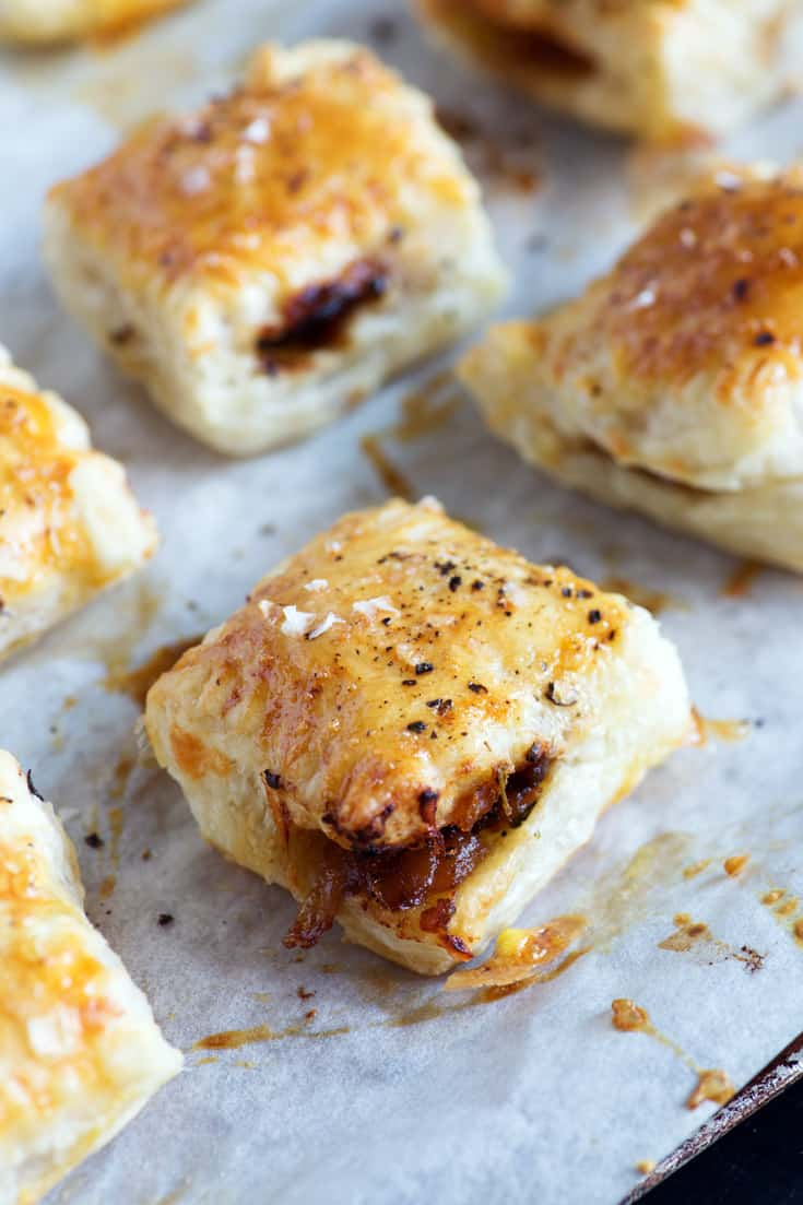 French Onion Pastry Bites on a cookie sheet