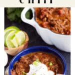 Short Rib Chili in a bowl next to a pot of chili.