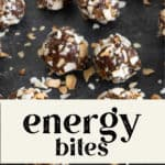 Energy Bites surrounded by shaved nuts on the counter top.