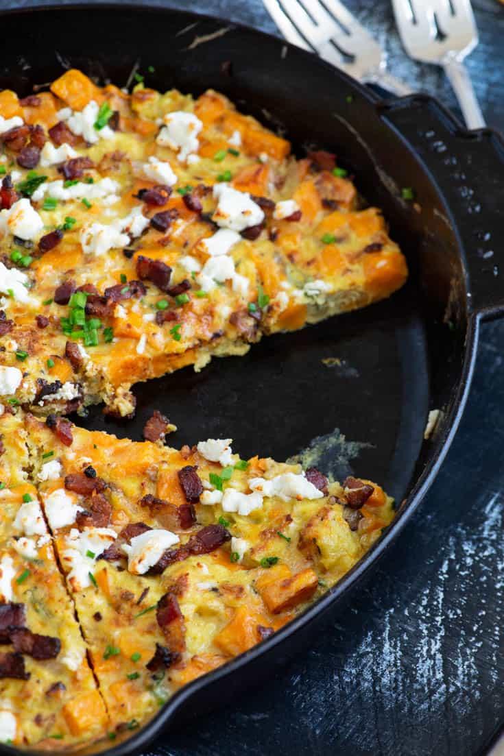 A skillet of Sweet Potato Frittata